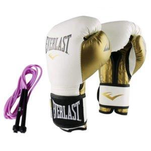 Γάντια προπόνησης Everlast powerlock White/gold + δώρο σχοινάκι ταχύτητας